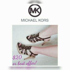 MICHAEL KORS- BLACK LEATHER CORK PLATFORM SANDALS THESE HIGH HEELS ARE COMFORTABLE AND EVEN BETTER LOOKING IN PERSON!! THEY ARE IN GOOD CONDITION, JUST SOME MINIMUM SCRATCHES. (SEE PICTURES)  * LEATHER CORK PLATFORM SANDALS *LEATHER  UPPER  *ADJUSTABLE ANKLE STRAP WITH GOLD TONE     BUCKLE * PADDING INSOLE * RUBBER  OUTSOLE *SOME WEAR ON OUTSOLE * COUPLE SCRATCHES ON BACK HEELS (SEE     PICS) *PLATFORM HEIGHT 1 INCH *HEEL HEIGHT 4.5 INCH  **** ANY QUESTIONS FEEL  FREE TO ASK*** Michael Kors…