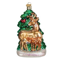 Deer Family #12406  by Old World Christmas #fathersday #giftidea #dad #glassornament #oldworldchristmas #deer #deerfamily #buck #outdoors