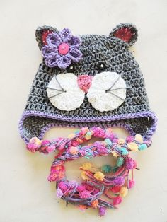 Crochet Kitty hats Luv Beanies Cat hats Kitty Hats by LuvBeanies