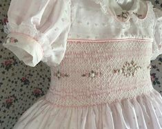 Dotted Swiss Voile in pink and white stripes. Size Smocked front and back. Balance of payment less deposit. Kids Clothes Patterns, Baby Patterns, Clothing Patterns, Sewing Patterns, Girls Smocked Dresses, Little Girl Dresses, Pleated Fabric, Pink And White Stripes, Heirloom Sewing