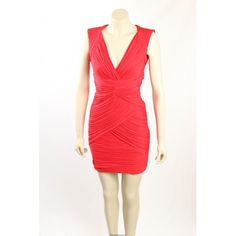 Stunning Red Cocktail Dress / Party Dress from BCBG Max Azria. The dress is ruched pleats throughout, fully lined and has a cut out back and is in size XS. Red Cocktail Dress, Hot Dress, Exclusive Collection, Designer Dresses, Party Dress, Bodycon Dress, Jackets, Tops, Fashion