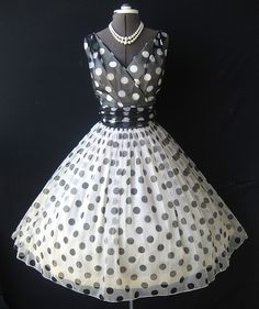1950's Polka Dot Chiffon Party dress