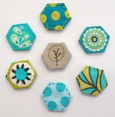 Mini hexi magnets are really cute and super easy to sew.  You will get a kick out of making them and your fridge will love wearing them! via Craft Sew Create