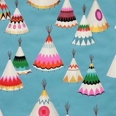 Alexander Henry House Designer - Barely There - We See Teepees in Aqua