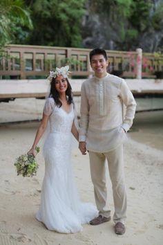 JC and Bianca tied the knot on December 2014 in El Nido Palawan. Barong Tagalog Wedding, Barong Wedding, Filipiniana Wedding Theme, Wedding Vows, Wedding Groom, Wedding Wear, Wedding Attire, Dream Wedding, July Wedding
