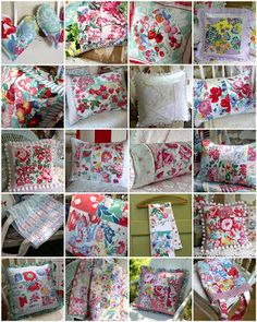 Pillows made with Vintage Tablecloths