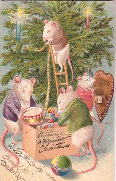 by Molly Brett link Vintage Christmas card link This adorable Miss Mousie is all dressed in. Vintage Christmas Images, Victorian Christmas, Retro Christmas, Christmas Pictures, Christmas Art, Christmas Greetings, Christmas Holidays, Christmas Scenes, Christmas Animals