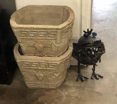 Pair of Vintage Concrete Planters   $78  Vintage Affection Dealer #1680  White Elephant Antiques 1026 N. Riverfront Blvd., Dallas, TX 75207