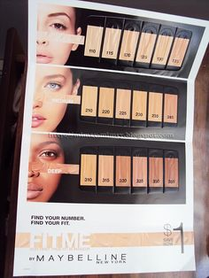 Several weeks ago the Target website offered samples of the entire range of shades from Maybelline's new Fit Me foundation line. I decided to take advantage of the deal and this morning I rec… Superstay Maybelline, Maybelline Makeup, Burts Bees Beauty, Makeup Tips, Beauty Makeup, Maybelline Fit Me Foundation, Makeup Swatches, Beauty Hacks, Beauty Ideas