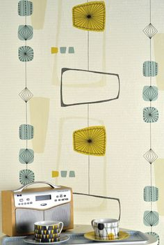 A nostalgic 50's wallpaper available in 4 different color variations.