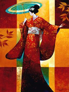 Misaki-by Keith Mallett ~Shading herself from the afternoon sun, a geisha takes a stroll in the garden. This open edition print is hand signed by the artist.