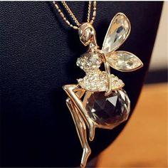 Femme Fashion Bijoux Papillon Cristal Aile Collier Pendentif Chandail Chaîne