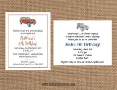 JEEP Invitation multiple styles & colors  by BabadooStationery, $14.00