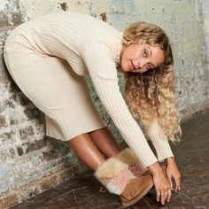 UGG Womens Classic Short Patchwork Fluff Boots Chestnut