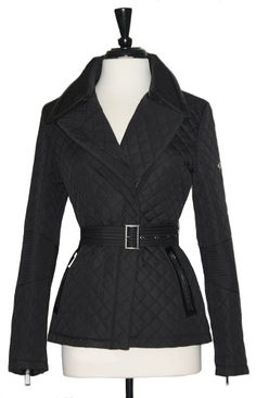 DKNY Coat NWT SZ Medium Black Quilted Belted Jacket Zipper Front Zip Pockets