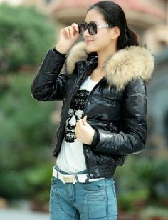 bfa3f49445b0c Luxury Fur hooded womens winter collar Duck down jacket coat short  motorcycle