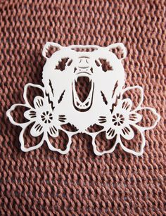 Brooch Bear and Flowers Papercut design in by designosaurYEAH, $25.00