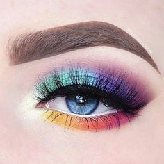 Rainbow colors are oh so fun! Featuring Makeup Geek Eyeshadows Rainbow colors are oh so fun! Featuring Makeup Geek Eyeshadows Rainbow colors are oh so fun! Featuring Makeup Geek Eyeshadows<br> Rainbow colors are oh so fun! Makeup Eye Looks, Eye Makeup Art, Cute Makeup, Eyeshadow Makeup, Eyeliner, Pretty Makeup, Eyeshadow Ideas, Star Makeup, Easy Eyeshadow