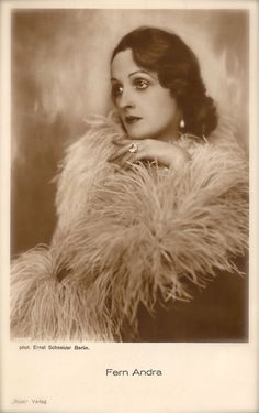 Fern Andra, Famous Silent Era Film Actress Beautiful Portrait Sensual Glamour Elegance Feathers Original Rare 1920s Art Deco Photo Postcard