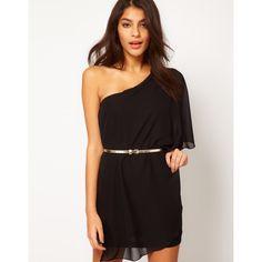 Asos Drape One Shoulder Dress With Gold Belt ($67) ❤ liked on Polyvore