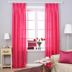Beautiful Curtains For Girls Bedroom Decoration : Endearing Pink Girls Bedroom Curtain in Captivating Girls Bedroom with White Floor Lamp and Cozy White Chair also Light Blue Wall Painting Girls Bedroom Curtains, Pink Bedroom For Girls, Pink Curtains, Cool Curtains, Beautiful Curtains, Beautiful Bedrooms, Master Bedroom, Double Bedroom, Window Curtains
