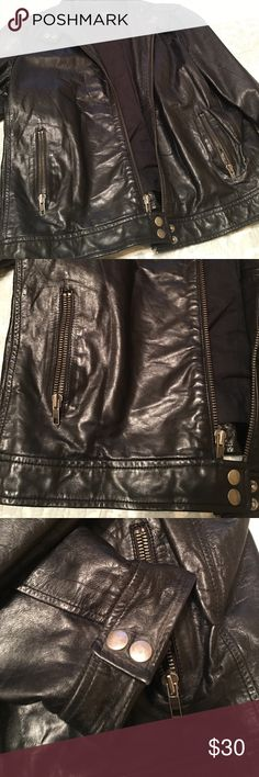 Black womens leather jacket Women's 💯 leather jacket. A little tear as shown on the picture. Make me an offer! GAP Jackets & Coats