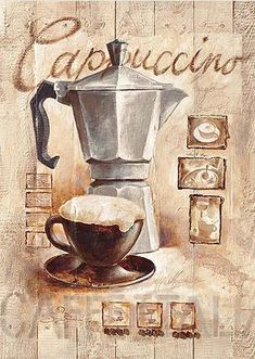 Printable image for decoupage and transfer purposes - Decoupage Vintage, Decoupage Paper, Croquis Cafe, Coffee Cafe, Coffee Shop, Etiquette Vintage, Photo Vintage, Still Life Oil Painting, Italian Coffee