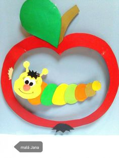 Housenka v jablku,( pozor -děti dávají list obráceně) Šablona z časopisu