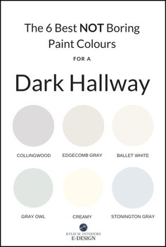 The best pretty paint colours for a dark hallway or staircase. Kylie M INteriors Edesign, Benjamin Moore and Sherwin Williams paint advice The 6 Best NOT BORING Paint Colours for a Dark Hallway