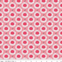 LAMINATED cotton fabric - Aster Pink Cottage Garden yardage (aka oilcloth fabric, slicker fabric)