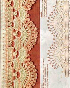 Crochet Boarders, Crochet Edging Patterns, Crochet Lace Edging, Crochet Diagram, Crochet Chart, Lace Patterns, Crochet Designs, Crochet Flowers, Filet Crochet