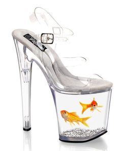A glass shoe with goldfish inside it!!