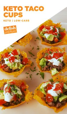Keto Taco Cups = The low-carb way to do taco Tuesday. Get the recipe at Delish.com. #recipe #easyrecipe #delish #keto #ketodiet #ketogenic #ketogenicdiet #taco #cheese #beef #meat #groundbeef #dinner #lowcarb #lowcarbdiet #lowcarbrecipes #avocado #tomatoes #sourcream