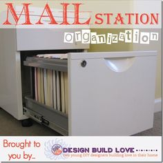 Creating an Organized Mail Station.I need soooo much help in this area! Binder Organization, Organization Ideas, Home Filing System, Mail Station, Computer Armoire, Garage, Pipe Dream, Making Life Easier, Desk Ideas