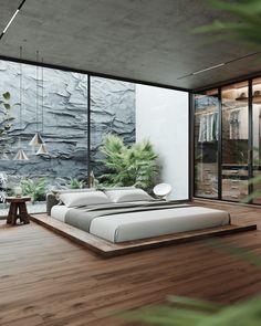 Modern Bedroom Design, Home Room Design, Master Bedroom Design, Dream Bedroom, Home Decor Bedroom, Home Interior Design, Exterior Design, Loft Design, Bed Design
