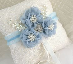Ring Bearer Pillow Bridal Pillow in White Powder Blue by SolBijou, $105.00