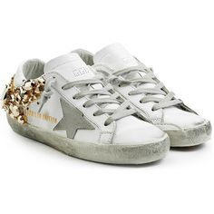 Golden Goose Super Star Suede Sneakers (93.920 RUB) ❤ liked on Polyvore featuring shoes, sneakers, white, white sneakers, pointy shoes, suede lace up shoes, white trainers and pointed-toe sneakers