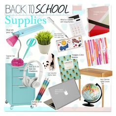 """""""Back to School Supplies"""" by kusja ❤ liked on Polyvore featuring interior, interiors, interior design, home, home decor, interior decorating, Thibaut, Kay + Stemmer, Kikkerland and Anya Hindmarch"""