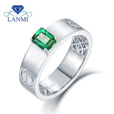 Solid 14K White Gold Natural Green Colombia Emerald Rings Diamond Jewelry Good Gem for Men's Wedding
