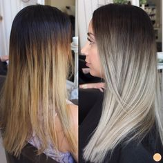 before and after ashy blonde ombre.little too dramatic but I like the ashy shade Ashy Blonde Hair, Ombre Blond, Hair Color Balayage, Ashy Balayage, Dark Brown Balayage, Mom Hairstyles, Ombré Hair, Hair Color And Cut, Hair Transformation