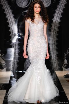 reem acra wedding dresses spring 2014 ilona embroidered illusion column gown drop tulle skirt