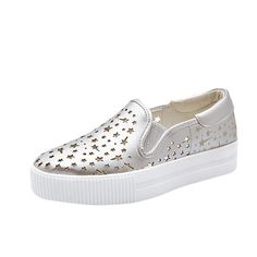 Womens Fashion Star Shaped Hollow Out Flat Slip On Fashion SneakersSkate Shoes