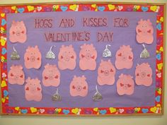 hogs and kisses Puzzle Bulletin Boards, February Bulletin Boards, Valentines Day Bulletin Board, Kindergarten Bulletin Boards, Classroom Bulletin Boards, Classroom Ideas, Classroom Door, Preschool Valentine Crafts, Valentine Activities