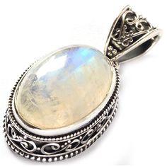 StarGems con pietra di luna arcobaleno, in argento Sterling 925 con pendente 1 20,32 (8/5 cm:euro 17,86