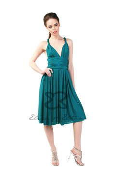 Eliza and Ethan - Multiway - Infinity - Bridesmaids Dresses - OneSize - Short MultiWrap Dress Color: Jade