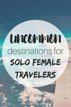 The uncommon destinations. Over 15 uncommon solo female travel destinations for adventurous solo female travelers! Solo Travel Tips, Travel Advice, Travel Guides, Travel Hacks, Travel Pro, Travel Stuff, Wanderlust Travel, Travel Essentials, Tips