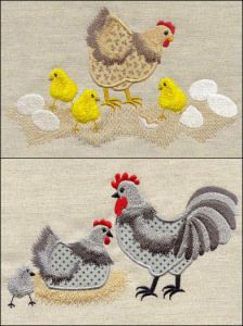 """Scratch Yard Chickens Applique"" This fun set comes with hens, chicks, roosters and more to stitch alone or to create scenes. Eggs and a nest/roost are included. Machine Embroidery Applique, Free Machine Embroidery Designs, Wool Applique, Applique Patterns, Applique Designs, Chicken Crafts, Chicken Art, Farm Chicken, Chicken Eggs"