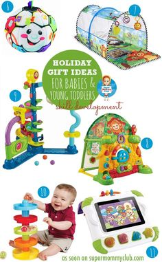 These toys are great for developing fine motor and gross motor skills Baby Christmas Gifts, Babies First Christmas, Christmas Toys, Christmas Stocking, Holiday Gifts, Birthday Gifts For Boys, Gifts For Kids, Toddler Toys, Baby Toys