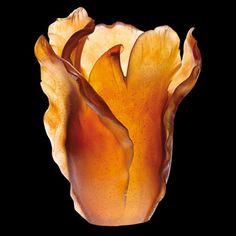 daum+glass+|+Daum+Crystal+Tulipe+Amber+Vase