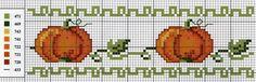 zucche Fall Cross Stitch, Cross Stitch Kitchen, Cross Stitch Borders, Counted Cross Stitch Patterns, Cross Stitch Designs, Cross Stitching, Cross Stitch Embroidery, Beading Patterns, Embroidery Patterns